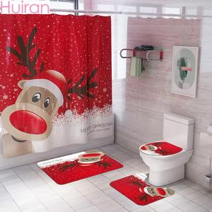 HUIRAN Christmas Bathroom Curtains Mat Toilet Seat Ornaments Merry Christmas Decorations for Home 2020 Xmas Gifts New Year 2021