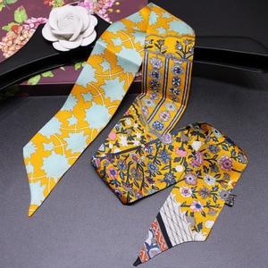 Image 5 - Headband Women Small Ribbon Multi function Fashion Lady 100% Silk Riband Scarves Handbag Scarf  Female Clothing Match Bandeaus