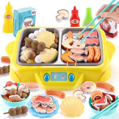 Plastic Kids Pretend Play Kitchen Toys and hot pot BBQ Plays Role playing Games Baby kitchen Children Toys for children