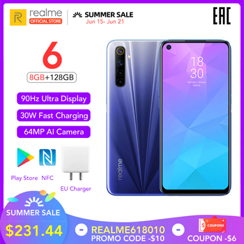 realme 6 8GB RAM 128GB ROM Global Version 90Hz Display Helio G90T 30W Flash Charge 4300mAh Battery 64MP Camera Multi Language