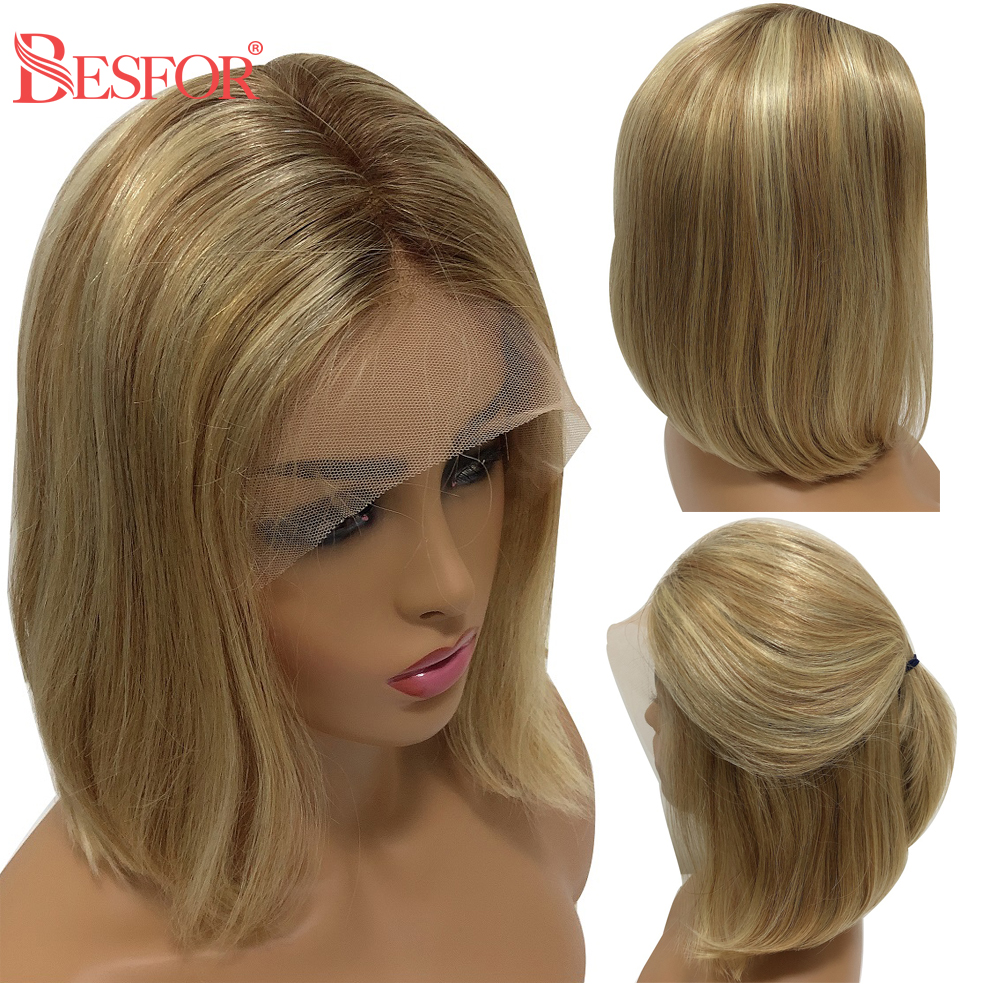 BESFOR Balayage 13×6 Lace Front Human Hair Bob Wigs Silky Straight Highlights Ombre 613 Blonde With Baby Hair For Black Women