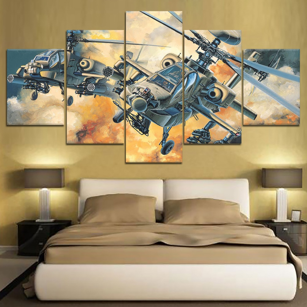 5 Panels Modular Helicopter Picture Home Room Decor HD on Canvas Wall Art for Decorations Framework