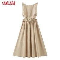 Tangada 2021 Summer Women Sexy Backless Beach Dress Sleeveless Ladies Long Dress Vestidos QB51 1