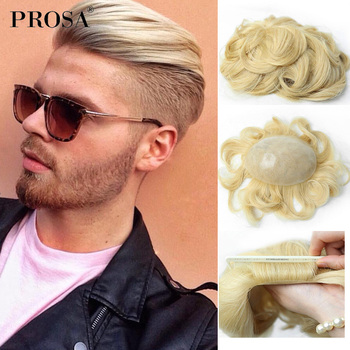 Peruka męskie włosy dla mężczyzn włosy ludzkie peruka damska z cienką skórą wszystkie v-zapętlone męskie kawałki włosów naturalne włosy naturalne System wymiany Man Fashion tanie i dobre opinie PROSA Indyjskie włosy 38mm CN (pochodzenie) Włosy remy