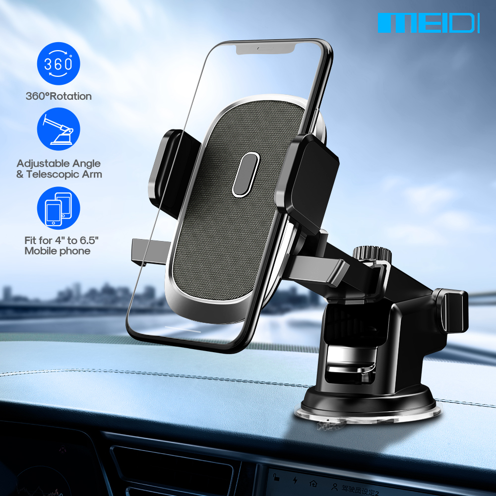 MEIDI Car Phone Holder Dashboard Mount Windshield Suction Holder 360 Rotation Auto Bracket For Mobile Smart Phone