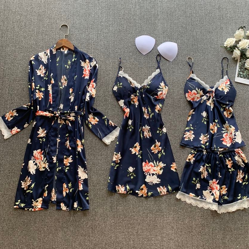 2020 Spring Women Silk Satin Pajamas Sets 4 Pieces Lace Sleepwear  Flower Printed Pijama Spaghetti Strap Pyjamas Nightwear