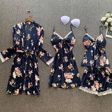 2020 Spring Women Silk Satin Pajamas Sets 4 Pieces Lace Sleepwear  Flower Printed Pijama Spaghetti Strap Pyjamas Nightwear