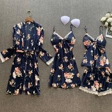 Mùa Xuân Năm 2020 Nữ Lụa Satin Bộ Đồ Ngủ Bộ 4 Miếng Ren Đồ Ngủ In Hoa Pijama Spaghetti Dây Pyjamas Váy Ngủ