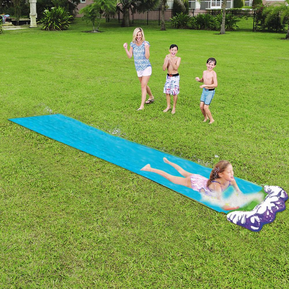 Children Summer Surf Toys Water Slip Slide Adults Giant Backyard Lawn Water Slide Outdoor Garden Water Games Wave Ride for Family Time Backyard Waterslide for Kids Lawn Racing Mat
