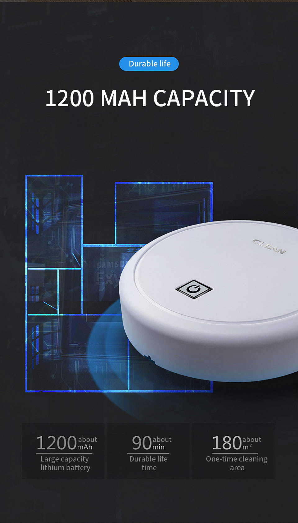 Automatic USB Charging Wireless Sweeping Robot Vacuum Cleaner Cordless