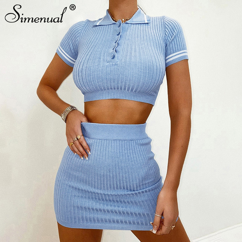 Simenual Knitting Ribbed Fashion Women Two Piece Sets Short Sleeve Casual Bodycon Outfits Button Crop Top And Skirt Co-ord Set