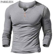 Henley Shirt Men Long Sleeve Button Placket Mens T-shirt Casual Slim Fit Basic Oversized Tshirt Camisetas Tee Shirt Homme XXL