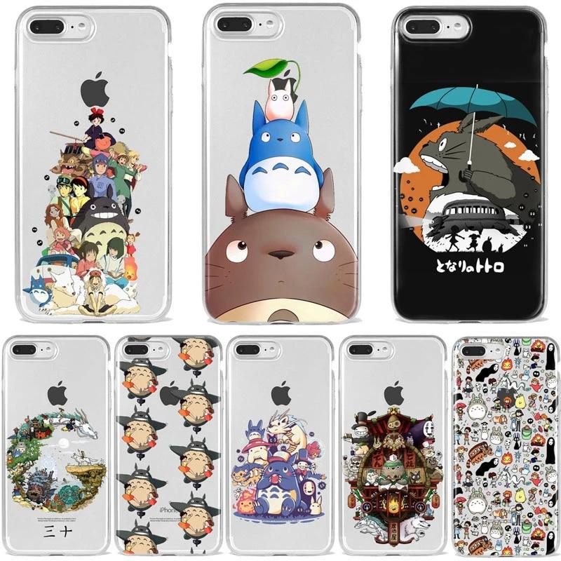Japanese Cartoon Ghibli Miyazaki Totoro Phone Case for iPhone 7 8 6S Plus X XS 11 12 Mini Pro MAX XR Coque Suave silicone cover