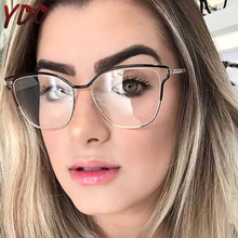 YDO Clear Glasses Frame Women Computer Eyeglasses Fashion Optical Spectacle Metal Oversize Female Prescription Eyewear