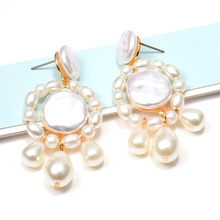 ZA New Arrive Hang Pearl Drop Earrings Wholesale Fashion Simple Pendientes Fine Jewelry Accessories For Women Christmas Gift