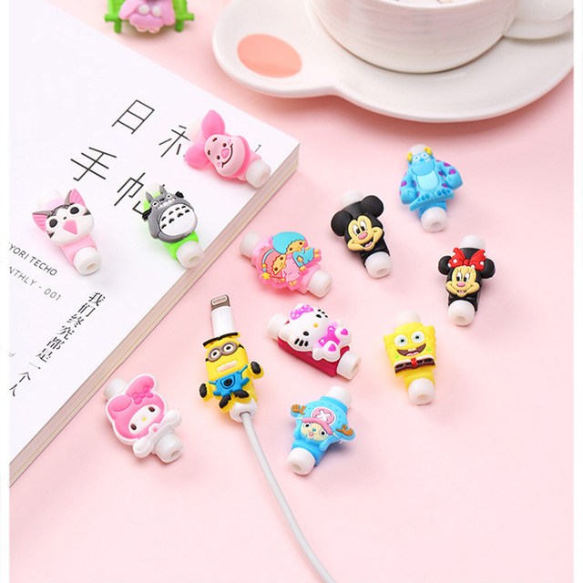 Cartoon Cable Protector Data Line Cord Protector Protective Case Cable Winder Cover For iPhone Huawei Samsung USB Charging Cable
