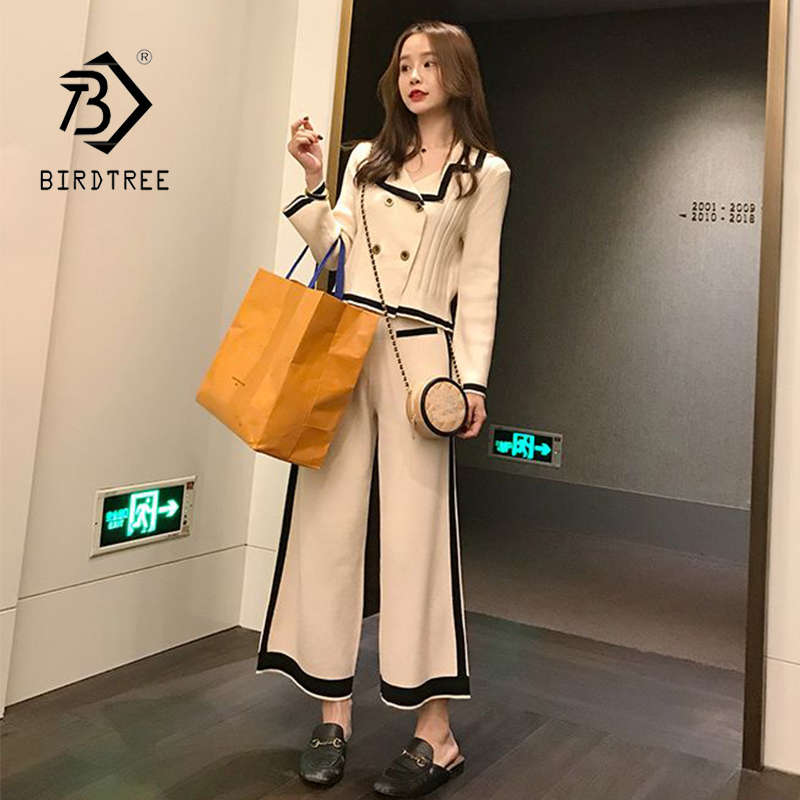2020 Autumn New Arrival Women's Fashion Sets Casual Solid Lapel Knitting Cardigan Button 2 Piece Set Knit Female Suit S9N608T
