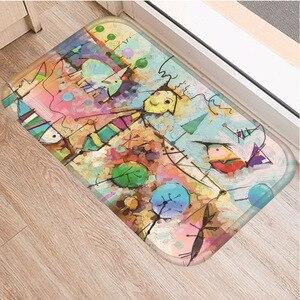 Image 5 - Hand painted Cartoon Pattern Non slip Mat Bedroom Hotel Decorative Carpet Kitchen Floor Home Living Room Floor Mat Bathroom Mat.