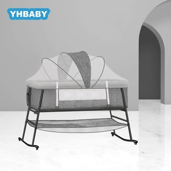 Baby Crib European Multifunctional Baby Bed Foldable Portable Bedside Bed Shaker Newborn Cradle Portable Kids Bed