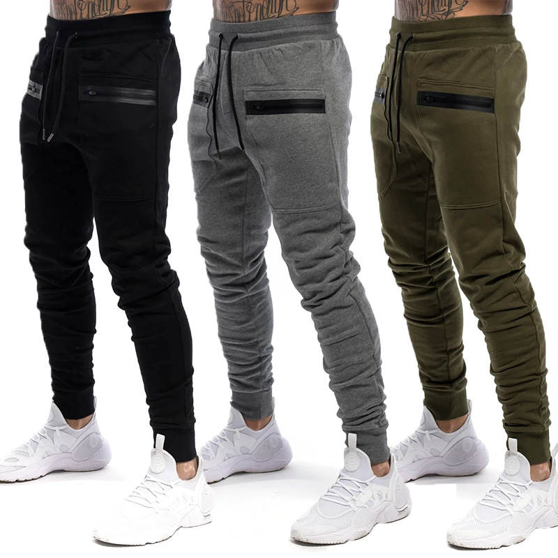 Mens Jogger Zip Pocket Sweatpants Man Gyms Workout Fitness Cotton Trousers Male Casual Fashion Skinny Track Pants
