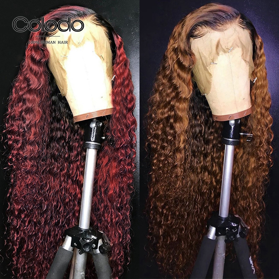 Colodo Ombre Curly Wig with Baby Hair 13x6 Deep Part Lace Front Human Hair Wigs Brazilian Blonde Remy Hair Pre Plucked Hairline