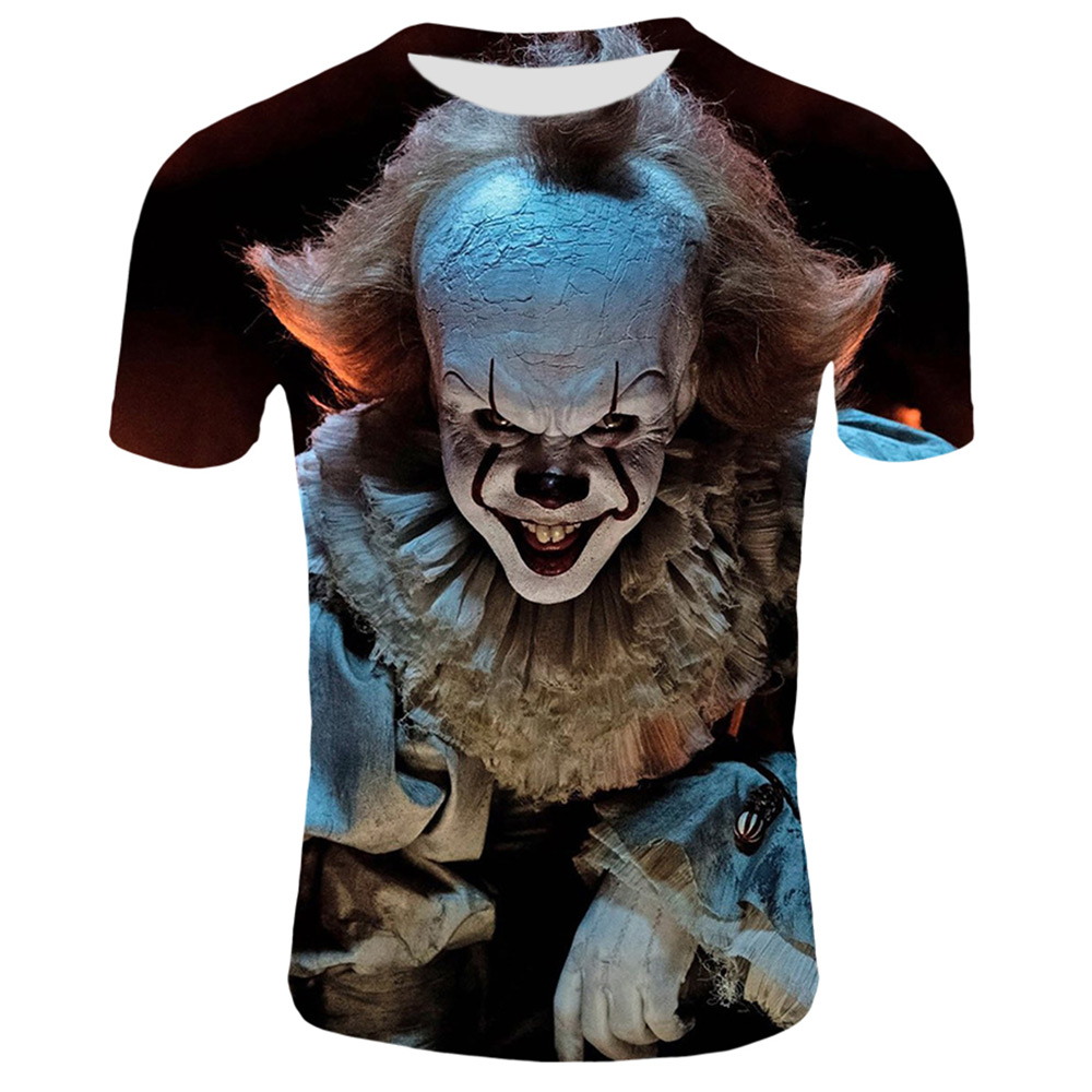 Funny Printed Men T-shirt Clown Print Casual T-shirt Summer Male T-shirt  Hip Hop Tops Tee Mens Short Sleeve Fashion Clothing