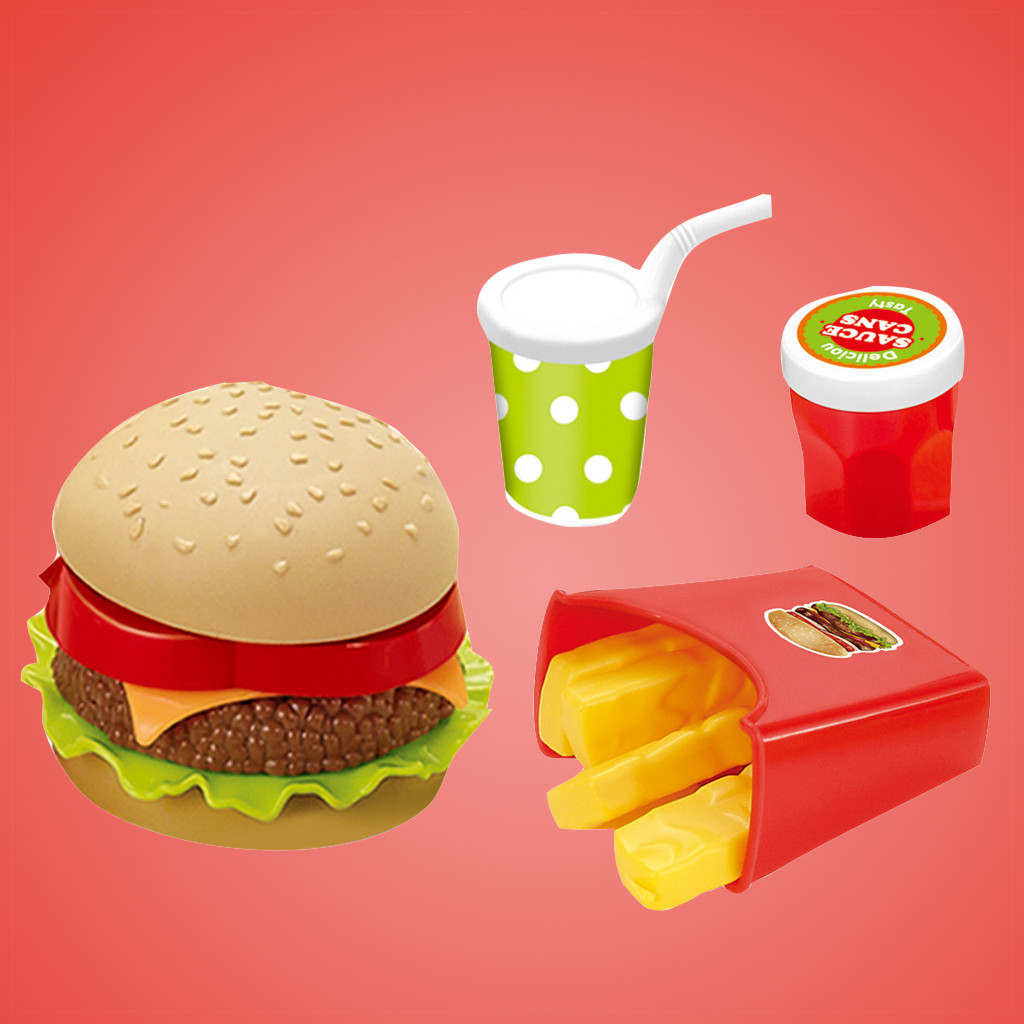 Early Education Toy Classic Learning Toys For Children Fast Food Deluxe Dinner Plastic Diner Food For Creative Classic Toy Y1127