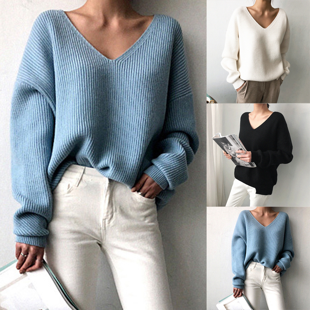 New Women's Sweater 2019 Autumn Winter Fashion Basic Knitted Sweaters Women Casual V-neck Pullovers Long Sleeve Jumpers N11