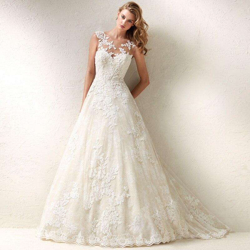 Princess Lace Appliques Tulle Bridal Ball Gown Vestidos De Novia 2019 New Arrival Sleeveless Wedding Dress