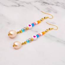 Shinus Drop Earrings For Women Earings Pendientes Earring Enamel Bead Long Dangle Fresh Water Pearl Pulseras Mujer Boho Jewelry pair of stylish faux gem bead water drop earrings for women