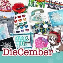 Matrices de découpe en métal, moule de découpe, lettre fleur décembre, nouveau Scrapbook, couteau artisanal en papier, moule, lame, poinçon, pochoirs
