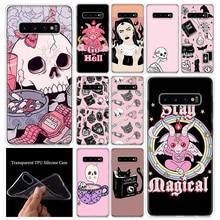 Rosa Katze Schädel Zauberin Hexe Telefon Fall Luxus Abdeckung Für Samsung Galaxy A51 A71 A70 A50 A40 A30 A20E A10S m30S A21 A6 A7 A8 A9