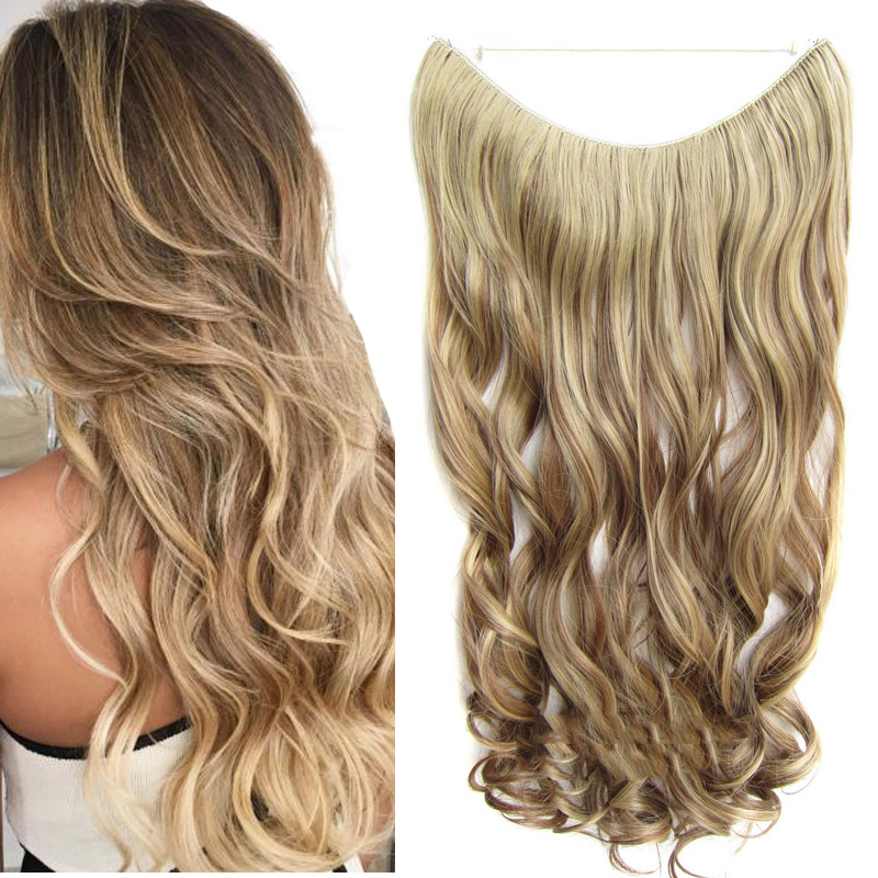 24inch Long Straight Halo Hair Extension No clip No glue  Flip In Secret Miracle Hair Wire Style|Synthetic Clip-in One Piece|   - AliExpress