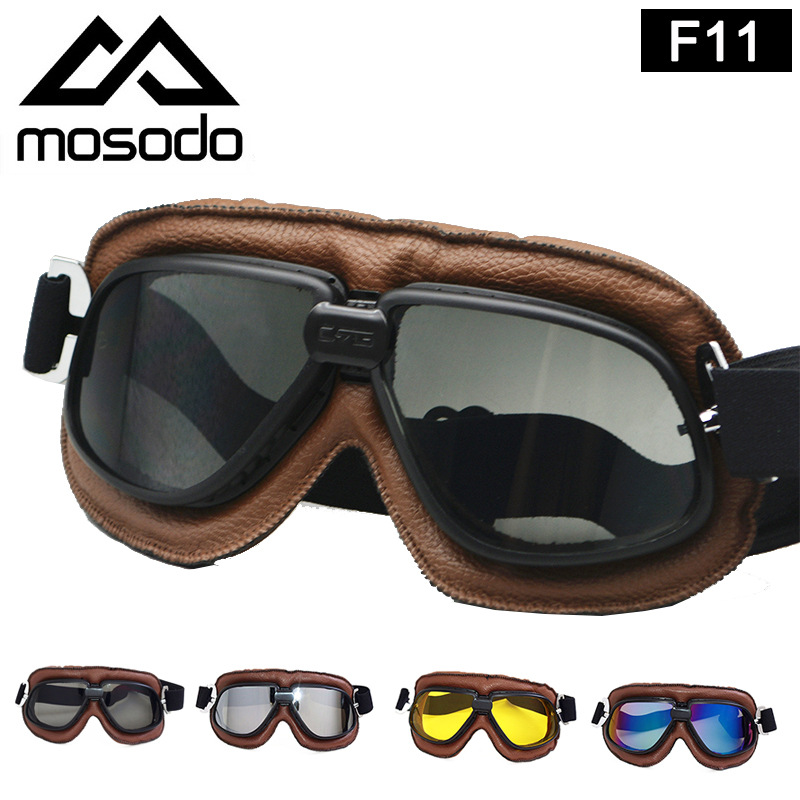 Riding Eye-protection Goggles Harley Goggles Hide Substance Bicycle Glass Outdoor Protective Goggles UV-Protection F11 Brown Lea