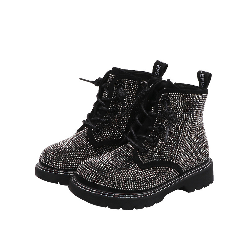 CNFSNJ Brand 2019 Kids Winter Fashion Boots Sneakers Children Baby Girls Casual Sport Shoes Princess Rhinestone Martin Boots