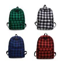 цена на Unisex Canvas Plaid Pattern Large Capacity Men Women Junior High School Student Bag Backpack