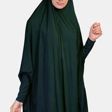 H1410 Простой Большой размер мусульманский хиджаб шарф с рукавом молитва наряд длинный химар платок обертывание