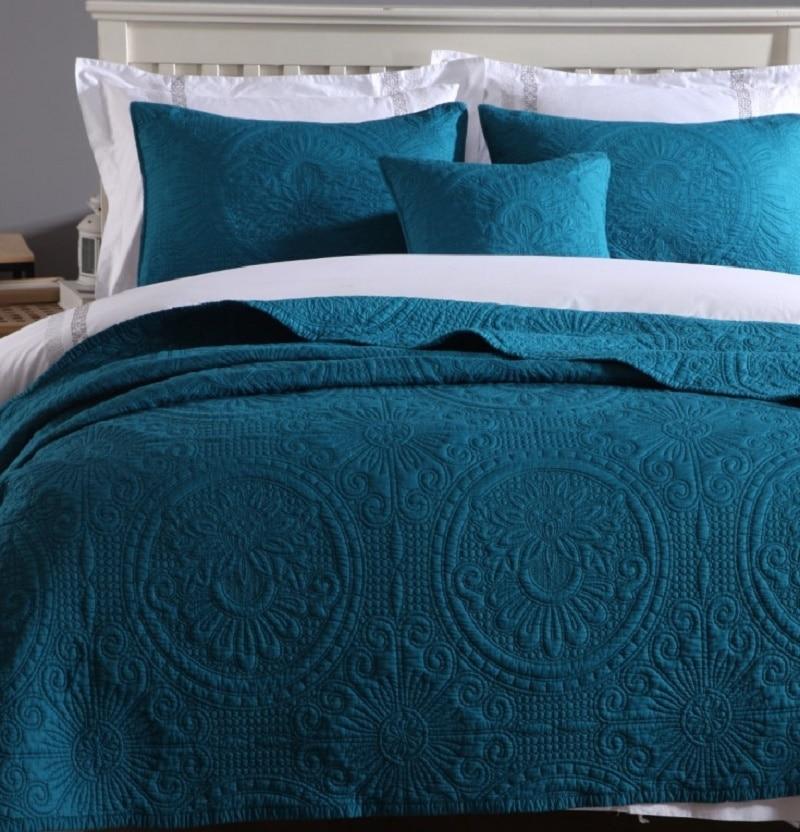 , Jednolity, biały, beżowy zielony kolor miękkie bawełna 3 sztuk zestaw pościeli Queen size haftowane narzuta pikowana łóżko pokrywa prześcieradła koc zestaw w Zestawy pościeli od Dom i ogród na  Grupa 1