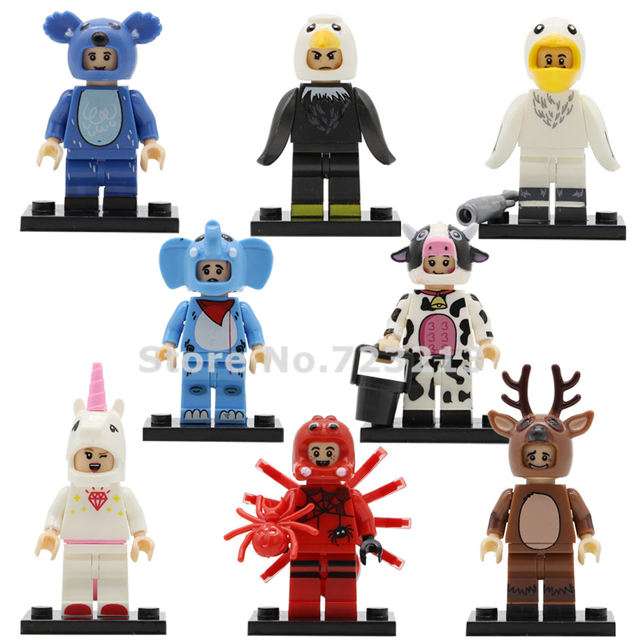 Single Animals Elephant Unicorn Spider Milk Cow Koala Dragon Eagle Figure Building Blocks Brick Toys For Children Legoing