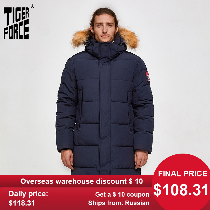 TIGER FORCE Men Parka Winter Jacket Men Long Alaska Jacket Coat Raccoon Fur Hood Winter Male Jacket Thick Waterproof Outwear