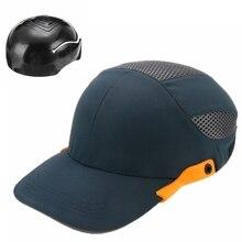반사 헤드가있는 안전 범프 캡 직장 건설 현장 모자 검은 줄무늬 가볍고 통기성 하드 모자