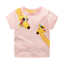 2020 Spring And Summer Girls Cute T-shirt Embroidered Short-sleeved T-shirt 3-8Y embroidered pullover t shirt