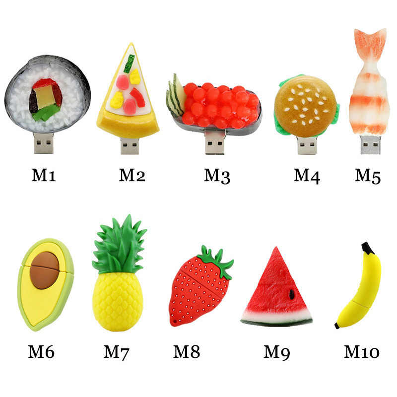 Strawberry Nanas Flashdisk Pizza Hamburger USB Flash Drive 4GB 8 Gb 16GB 32GB 64GB USB STICK memori Alpukat Semangka U Disk