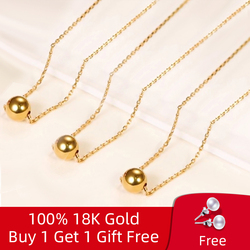 NYMPH Real 18K Gold Jewelry Necklace Solid Gold Beads Pendant Pure AU750 For Women Fine Wedding Gift D503