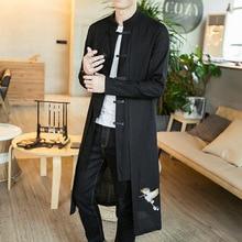 JDDTON New Men's Linen Embroidery Crane Coat Kimono Vintage  Long Gown Jacket Chinese Style Loose Male National Streetwear JE502