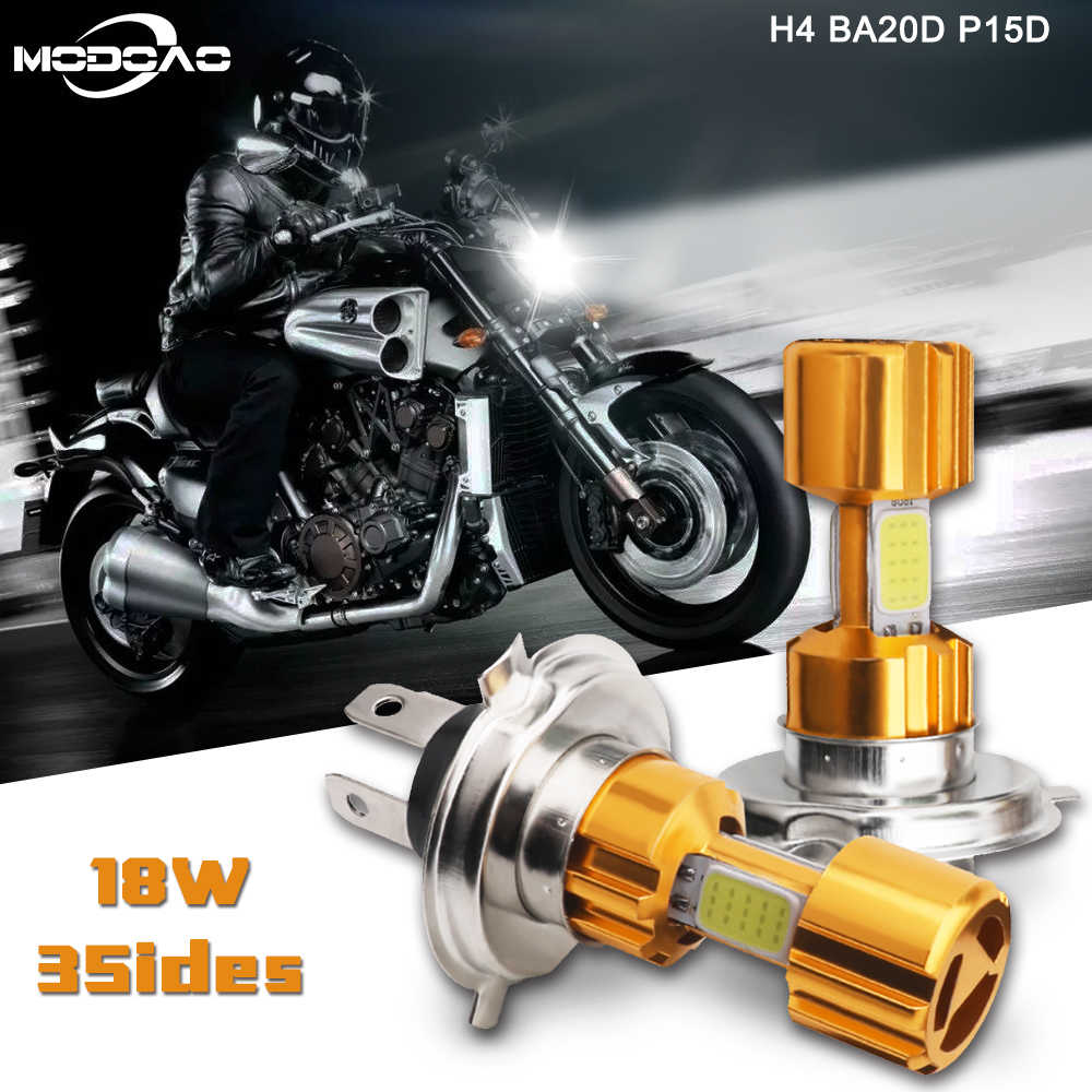 H4 LED Motorcycle Headlights Bulb 6500K 12V Motorbike Fog Light COB Moped Scooter Outdoor Lighting H4 Hi-Lo Bulbs BA20D P15D
