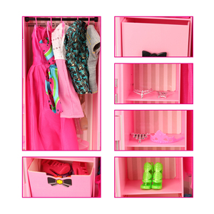 Image 4 - Fashion 43 Items/set Dollhouse Furniture Toys = wardrobe + 42 Dolls accessories Clothes for barbie Ken Game Christmas Kids Toys