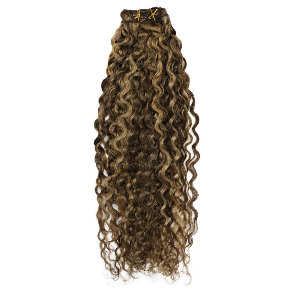 Moresoo Natural Wave Clip In Hair Extensions Remy Human Hair Brown And Blonde Highlights #P4/27 Clip In Full Head Set 7pcs/100g