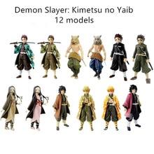Anime iblis avcısı figürü Kimetsu hiçbir Yaiba aksiyon figürleri Tanjirou Figur Nezuko PVC Model oyuncak Agatsuma Zenitsu Inosuke bebek hediye