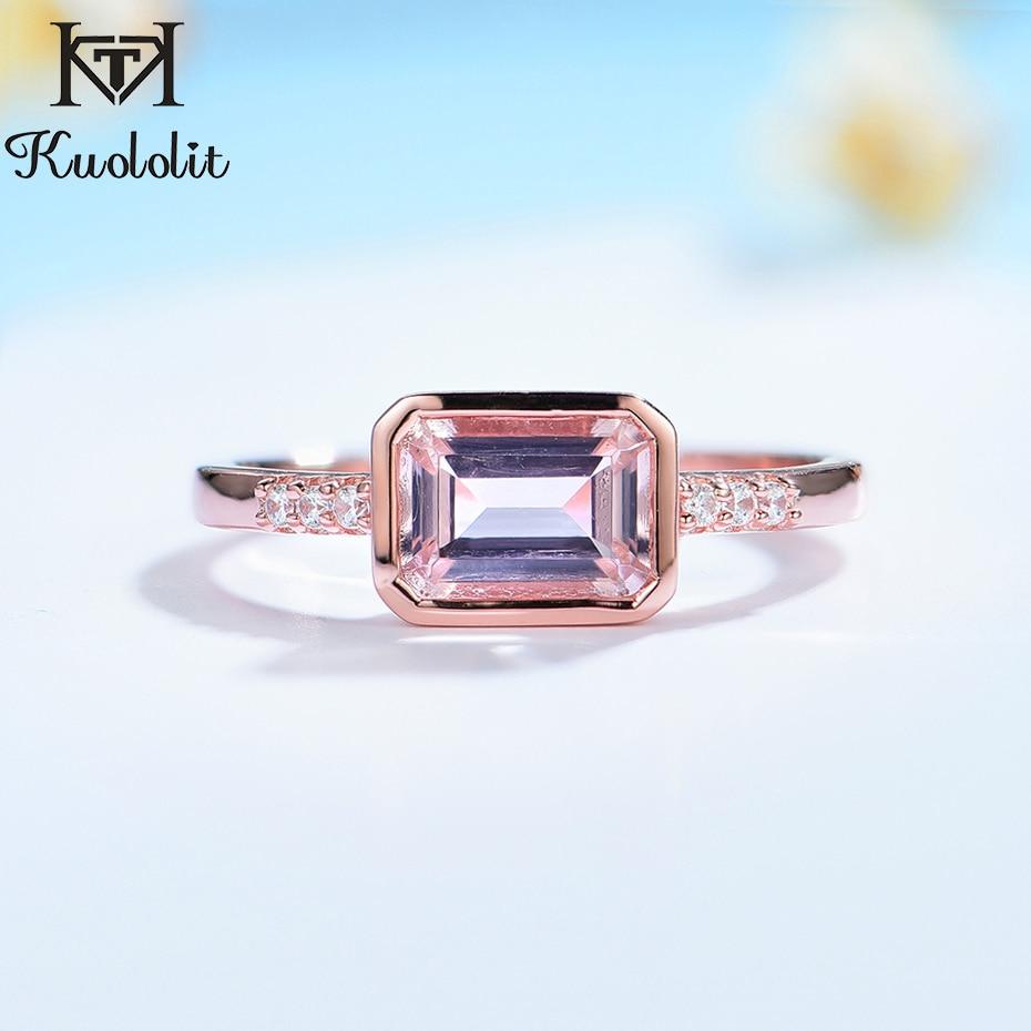 Kuololit 585 różowe złoto utworzono szmaragd kamień pierścień dla kobiet stałe 925 srebro luksusowe biżuteria dla zaręczyny boże narodzenie
